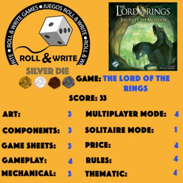 Sellos Juegos Roll & Write: El Señor de los Anillos