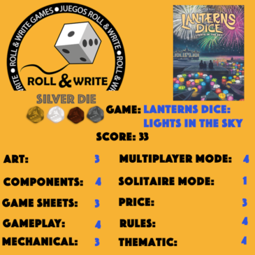 Sellos Juegos Roll & Write: Lanterns Dice: Lights in the Sky