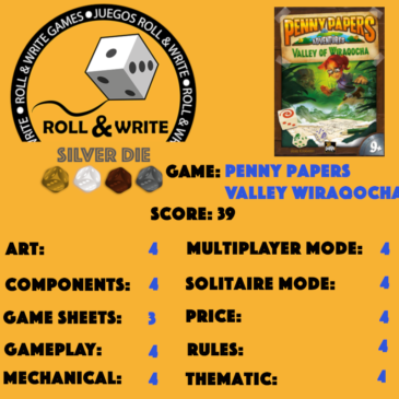 Sellos Juegos Roll & Write: Penny Papers Adventures: The Valley of Wiraqocha
