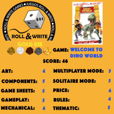 Sellos Juegos Roll & Write: Welcome to Dino World
