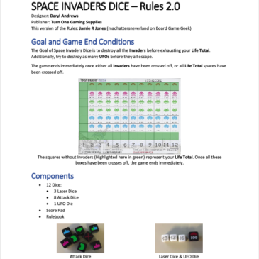 Reglas: Space Invaders Dice