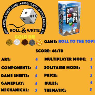 Sellos Juegos Roll & Write: Roll To The Top!