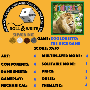 Sellos Juegos Roll & Write: Zooloretto: The Dice Game