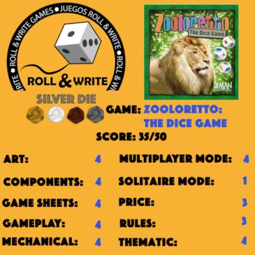 Sellos Juegos Roll & Write: Zooloretto: The Dice Game