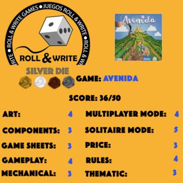 Sellos Juegos Roll & Write: Avenida