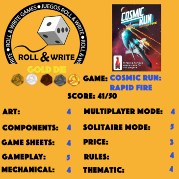 Sellos Juegos Roll & Write: Cosmic Run: Rapid Fire