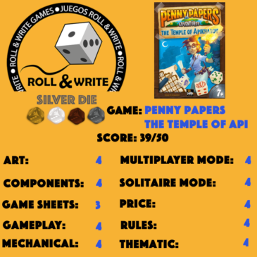 Sellos Juegos Roll & Write: Penny Papers The Temple of Apikhabou