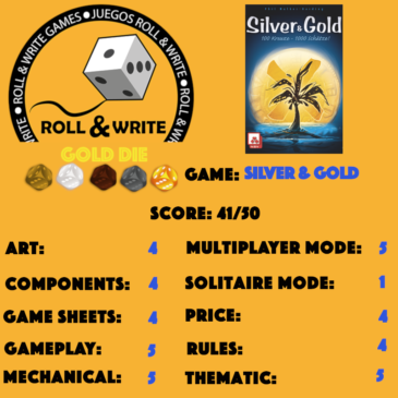Sellos Juegos Roll & Write: Silver & Gold