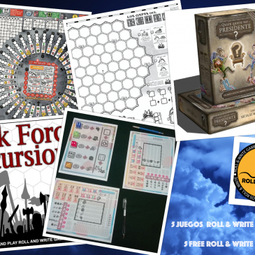 5 Juegos Roll & Write para imprimir Gratis en español e inglés 3a Parte.