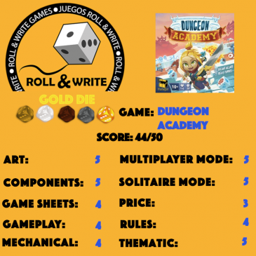 Sellos Juegos Roll & Write: Dungeon Academy