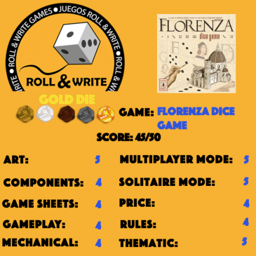 Sellos Juegos Roll & Write: Florenza Dice Game