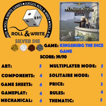 Sellos Juegos Roll & Write: Kingsburg: The Dice Game
