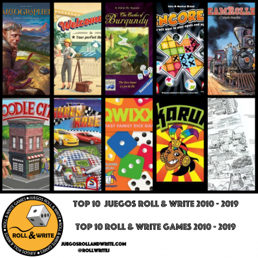 Top 10 Juegos Roll & Write Años 2010 al 2019