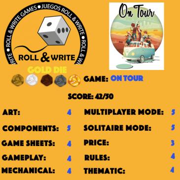 Sellos Juegos Roll & Write: On Tour