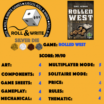 Sellos Juegos Roll & Write: Rolled West
