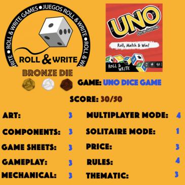 Sellos Juegos Roll & Write: Uno Dice Game
