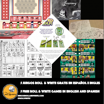 5 Juegos Roll & Write para imprimir Gratis en español e inglés 14a Parte