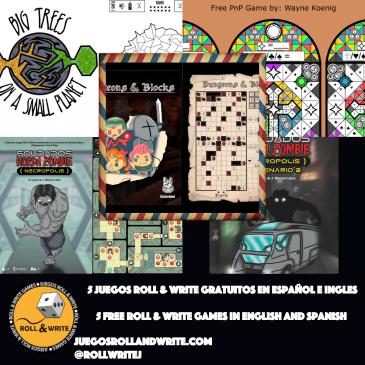 5 Juegos Roll & Write para imprimir Gratis en español e inglés 15a Parte