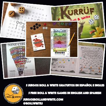 5 Juegos Roll & Write para imprimir Gratis en español e inglés 16ª Parte