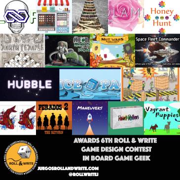 Ganadores del 6º Concurso De Diseño de Juegos Roll & Write en la BoardGameGeek