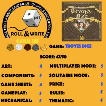 Sellos Juegos Roll & Write: Troyes Dice