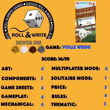 Sellos Juegos Roll & Write: Volle Weide