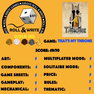 Sellos Juegos Roll & Write: That's My Throne